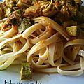 Tagliatelle accompagnée sauce curry et courgettes