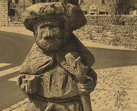 Nasbinals_tête statue pèlerin