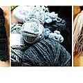 Idée tricot : une écharpe frangée en dégradé et customisée avec des pompons