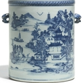A large Chinese export blue and white cylindrical <b>wine</b> <b>cooler</b>, Qing Dynasty, circa 1800