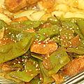 Poulet au lait de coco, curry et haricots coco plats.