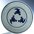 Blue and white porcelain dish, china, ming dynasty, wanli mark and period, 1573 - 1620