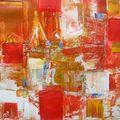 277-Composition en rouges et ocres 20x20