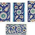 Four Iznik polychrome pottery border tiles, Turkey, 1575-85