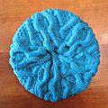 Béret torsadé turquoise en impact 6 (100 % acrylique)
