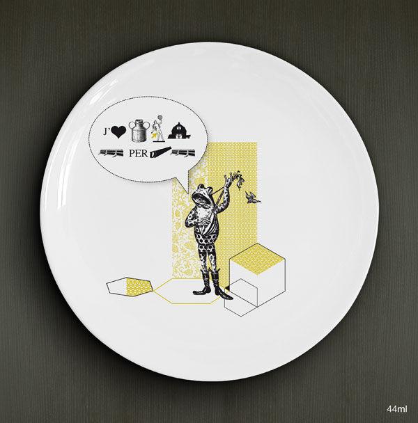 Le troubadour / porcelaine de 26cm / rébus / 3 versions