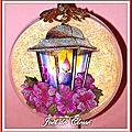 Boule 10cm Lanternes fleurs mauves deux faces recto