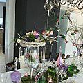Décoration de table rose et vert