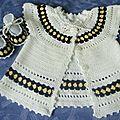 Ensemble crochet bébé 3/<b>6</b> <b>mois</b>, gilet et chaussons
