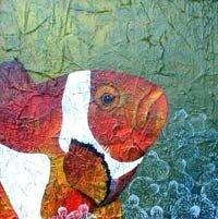 Poisson clown - acrylique sur bois - 40x40cm - 2003