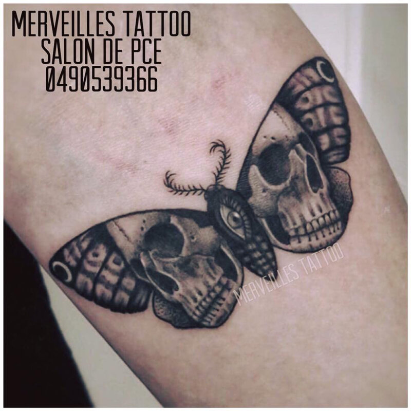 tattoo, skull, papillon, salon de provence