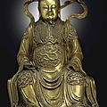 A magnificent large bronze figure of <b>Zhenwu</b>, Ming dynasty, 15th-16th century