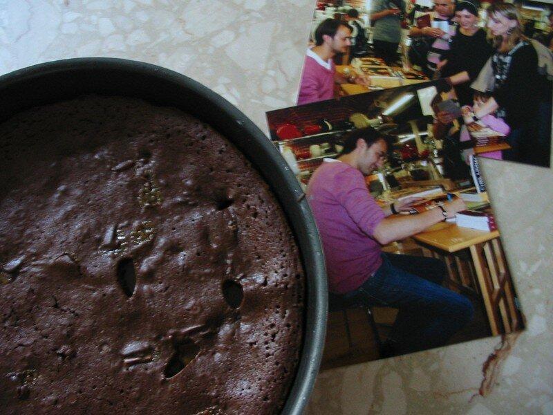 Brownies chocolat blanc, raisins secs et caramels