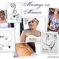 Collier mariage et bijoux mariage avec perles mauve, violet, parme