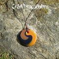 Collier spirale, caramel mandarine et noir (17)
