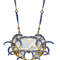 An art nouveau galalith, enamel and pearl pendent necklace, by rené lalique