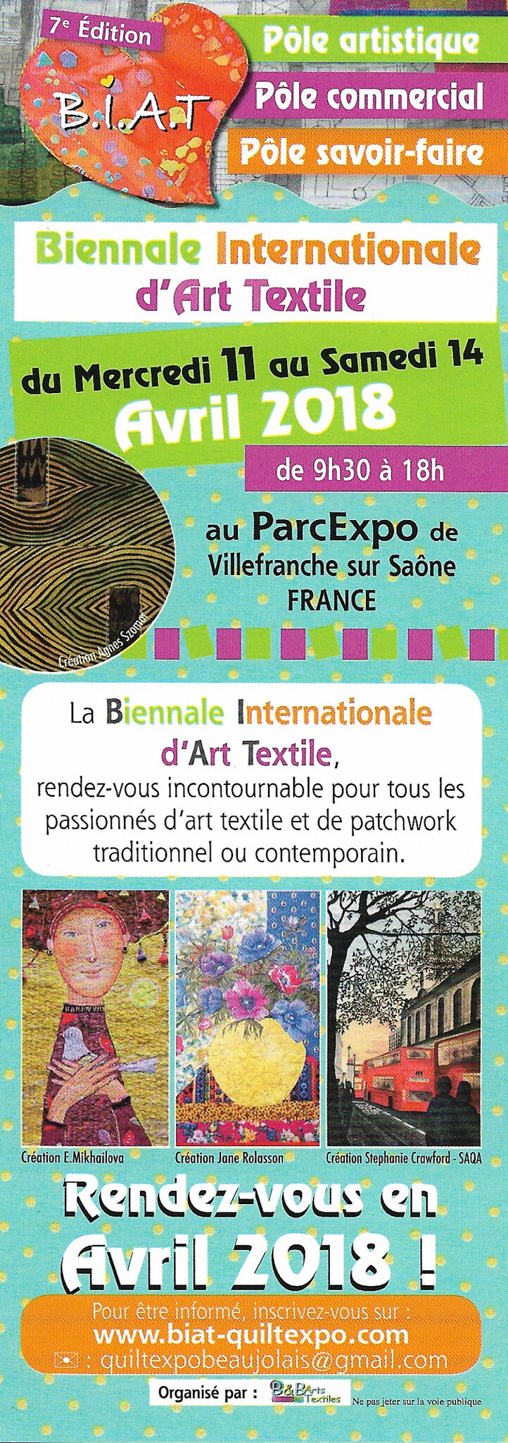 BIAT QUILT EXPO EN BEAUJOLAIS 11-14 AVRIL 2018