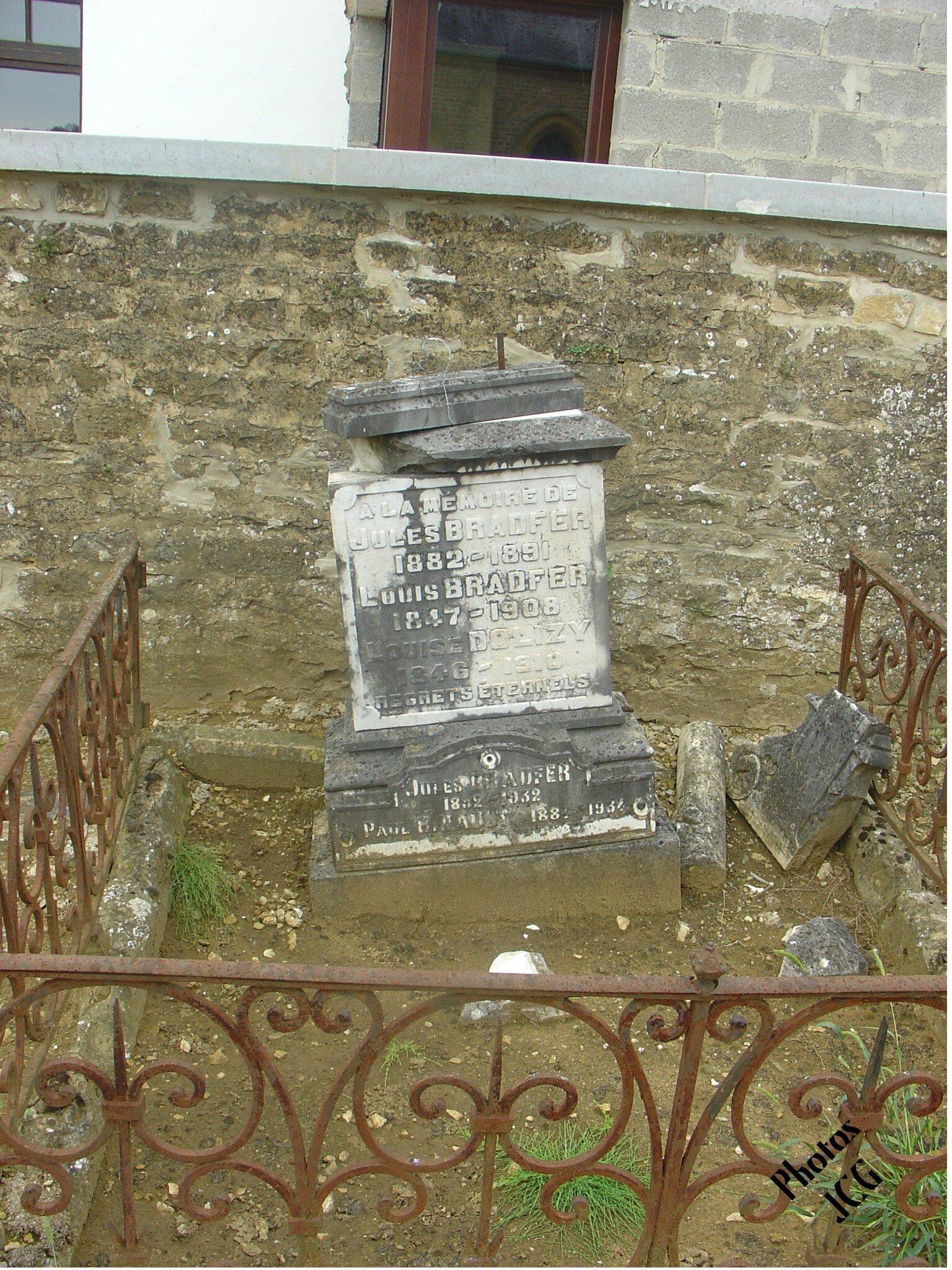 Jules BRADFER 1882-1891 Louis BRADFER 1847-1908 Louise DOLIZY 1846-1910 Jules BRADFER 1882-1932 Paul R