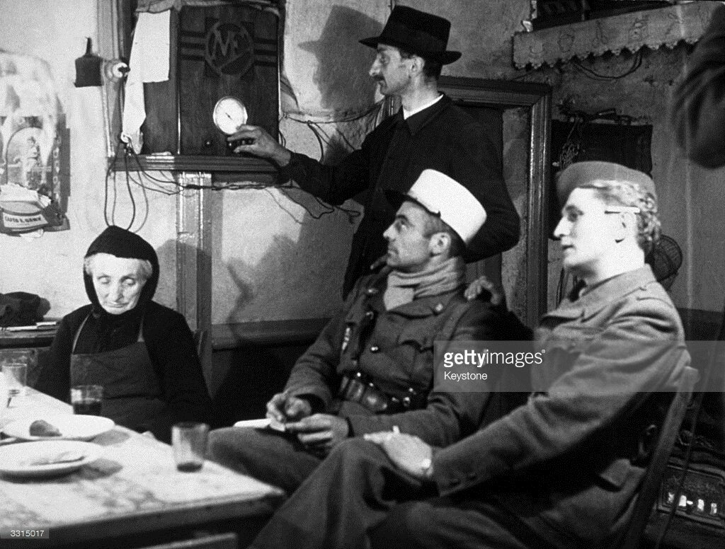 Members of the French Resistance in France, listening to radio messages from London