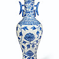 An unusual large blue and white <b>baluster</b> <b>vase</b>, Ming dynasty, early 16th century