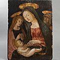 Ecole siennoise du <b>XVème</b> <b>siècle</b>, Vierge à l'Enfant avec saint Jean et saint Jean Baptiste