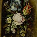 Roelant-Jacobsz Savery (Kortrijk 1576 - 1639 Utrecht), Flowers in a vase with lizard and butterfly in a niche, <b>1612</b>