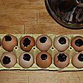 Moelleux chocolat - noisettes dans leur coquille d'oeufs, sans gluten ni produits laitiers