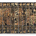 A twelve-leaf lacquer 'palace' screen, qianlong, ciclycally dated to the gengyin year, corresponding to 1770 and of the period