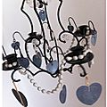 Suspension coeur ardoise et colliers