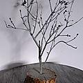 Décoration pour une table de Noël : <b>Arbre</b> enneigé scintillant
