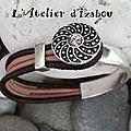 Nouveaux modèles toujours, mais soldes aussi ! Avec ce <b>bracelet</b> demi jonc cuir aubergine et rose poudré !