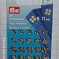 Bouton pression à coudre argent 6 -11 mm