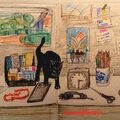 nature morte au chat noir