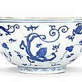 A large blue and white 'nine chilong' bowl, Yutang Jiaqi mark, Wanli period (1573-1619)