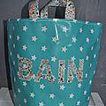 sac jeux de bain vert mint à étoiles