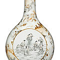 A grisaille-enameled <b>faux</b>-<b>marble</b> bottle vase, Qianlong seal mark and period (1736-1795)