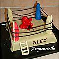 Gâteau Ring boxe et gants 3D