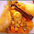 Tajine de poulet au potiron, pois chiches et aux épices (en cocotte)