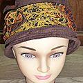 chapeau marron/multi color