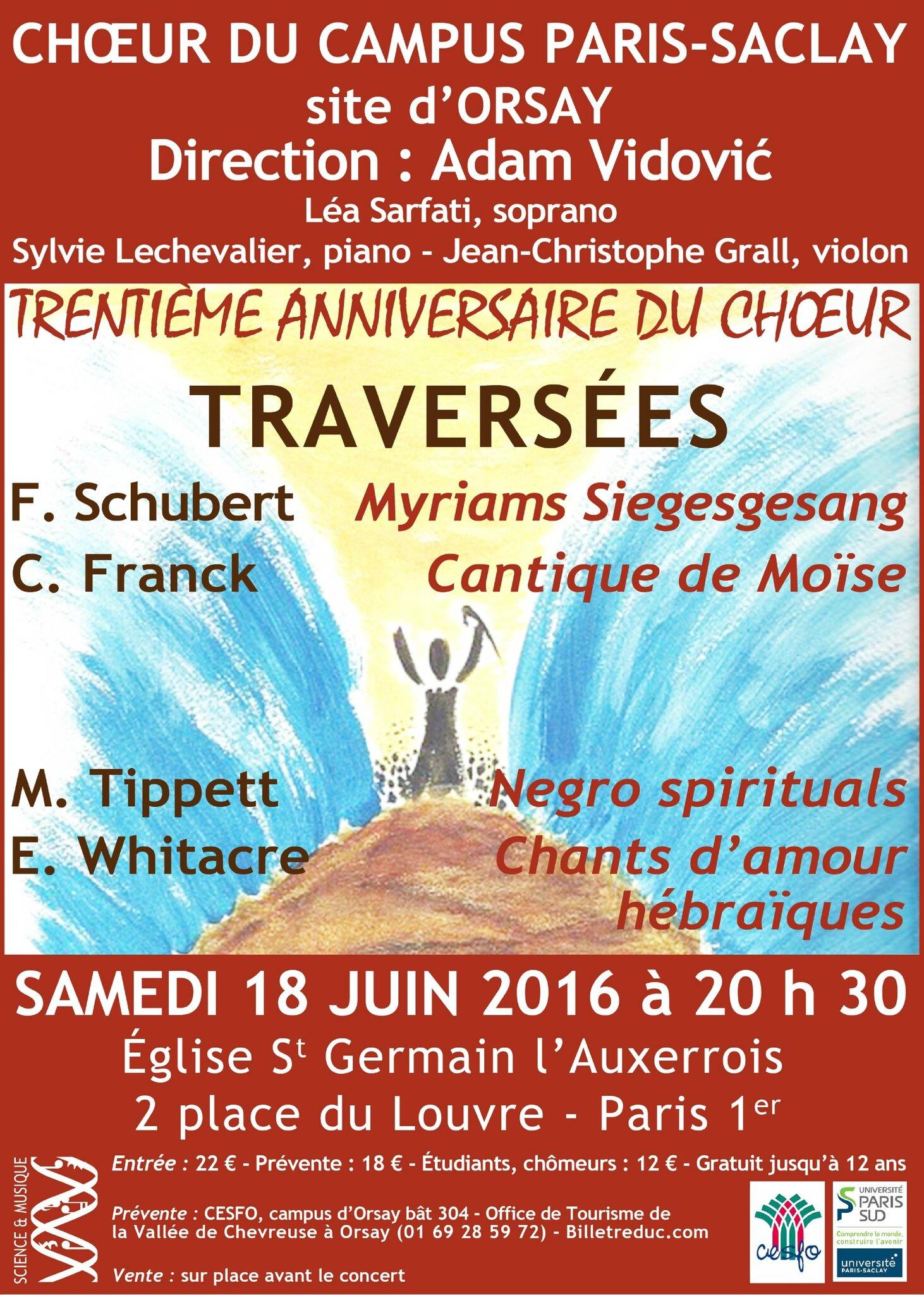 Concert du choeur du Campus Paris-Saclay samedi 18 juin à l'église St Germain l'Auxerrois
