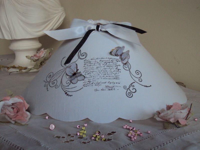 Abat jour volutes arabesques noir et blanc et papillons la petite boutique des lucioles - Refaire un abat jour ...