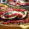 Gratin d'aubergines aux fusilli bolognaise et mozzarella