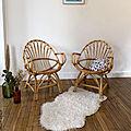 Paire de <b>fauteuils</b> en rotin vintage