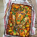 Poulet rôti au <b>colombo</b>, pommes de terre et carottes
