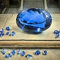 Largest known intense <b>blue</b> <b>topaz</b> faceted gemstone goes on display at the Natural History Museum