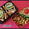 Bento « poêlée de légumes, céréales, et fruits frais »