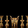 An exceptionally rare gold-ground famille-rose five-piece altar <b>set</b> (wugong), Seal marks and period of Qianlong (1736-1795)