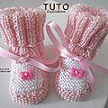 FICHE TRICOT BEBE, explications tricot TUTO, modèle, layette, tricot bb, chaussons