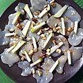 Carpaccio de saint jacques, noisettes et pommes vertes