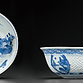 Two blue and white shallow bowls, chongzhen period, circa 1643